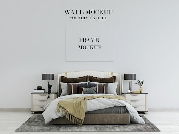豪華なアールデコ様式の寝室の壁とフレームのモックアップ