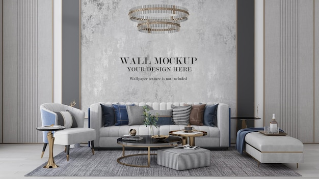 Luxury art deco style living room wall mockup