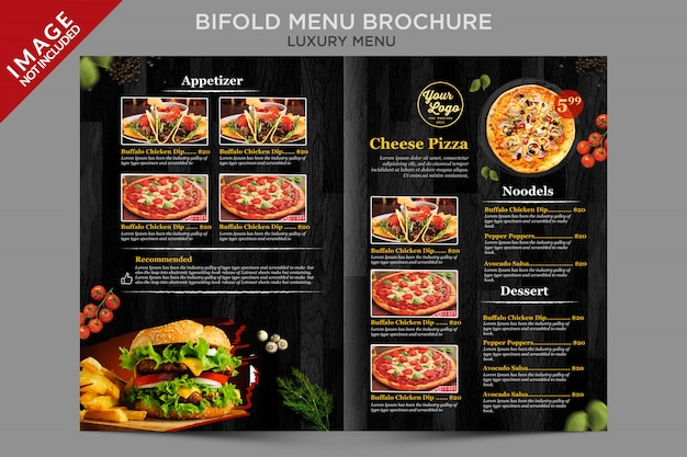 Luxury bifold menu inside brochure series