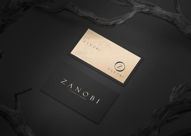 브랜드 정체성 3d 렌더링을위한 럭셔리 블랙 골드 활자 명함 모형