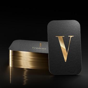 Роскошная черная визитка высокой печати с логотипом макет 3d визуализации