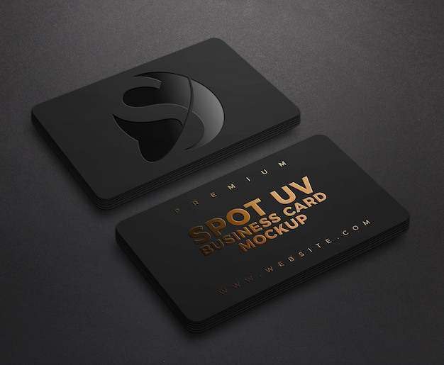 Luxury black business card mockup with spot uv and gold embossed  effect