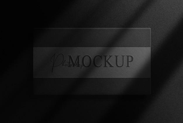 Luxury black embossed paper top view mockup