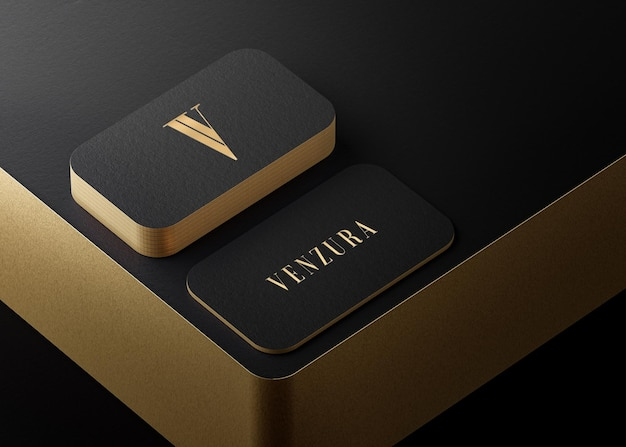 Luxury black gold letterpress business card mockup for brand identity 3d render