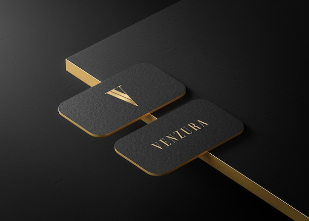 Luxury black gold press business card for brand identity 3d render
