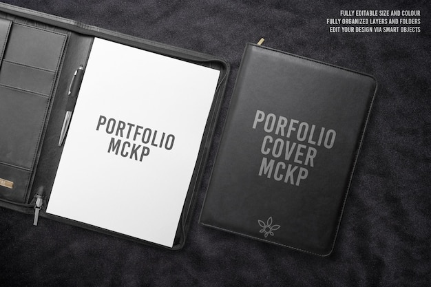 Luxury black porfolio folder mockup design