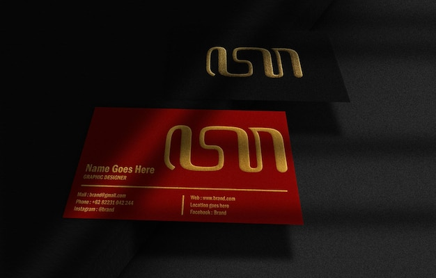 Luxury black and red floating busines card with gold embossed mockup