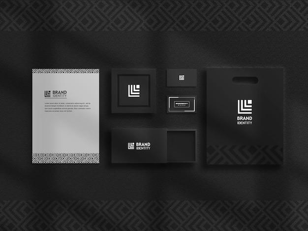 Роскошный черный набор макетов канцелярских товаров