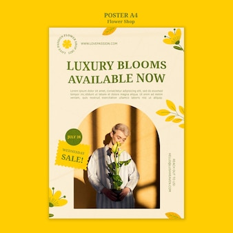 Luxury blooms flower shop poster template