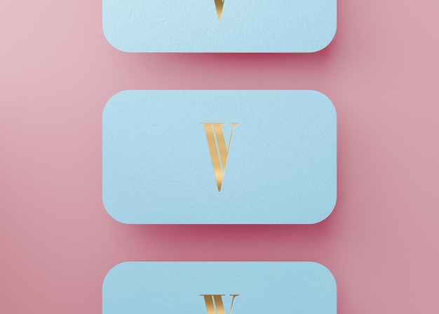 Luxury blue gold press business card for brand identity 3d render