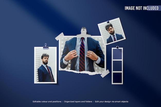 豪華な青いポラロイドムードボード写真モックアップ