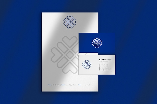 Luxury blue and white branding mockup