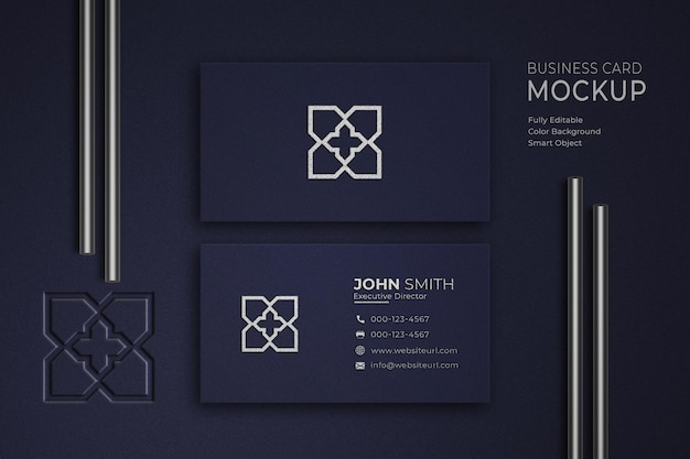 Luxury blue and white business card mockup