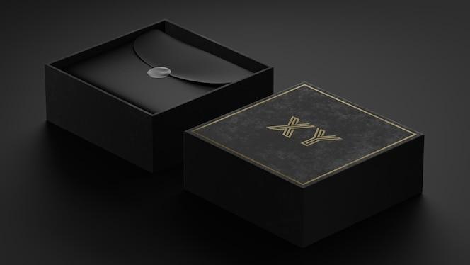 브랜드 아이덴티티를위한 블랙 박스의 럭셔리 브랜드 로고 모형