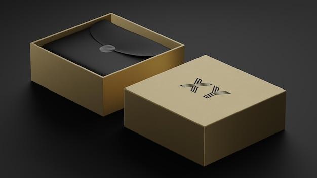 브랜드 아이덴티티를위한 황금 상자의 럭셔리 브랜드 로고 모형