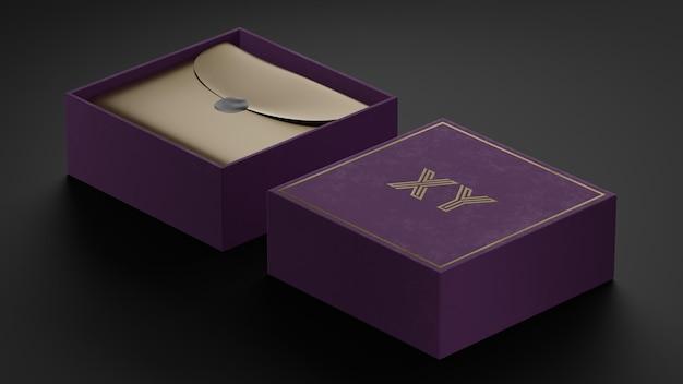 브랜드 아이덴티티를위한 보라색 상자의 럭셔리 브랜드 로고 모형