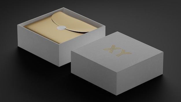 브랜드 아이덴티티를위한 흰색 상자에 고급 브랜드 로고 모형