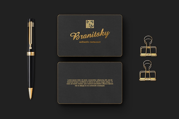 Luxury branding business card mockup