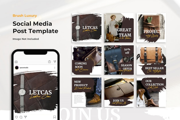 Luxury brush shop store social media banner instagram templates