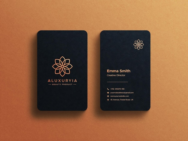 Luxury business card and logo branding mockup with foil print effects
