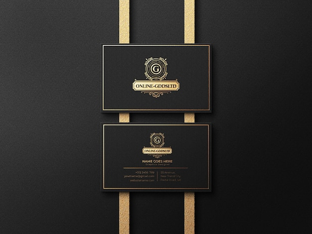 Роскошный макет логотипа визитки с эффектом тиснения и тиснения