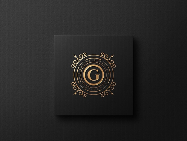 Luxury business card logo mockup with embossed and debossed effect