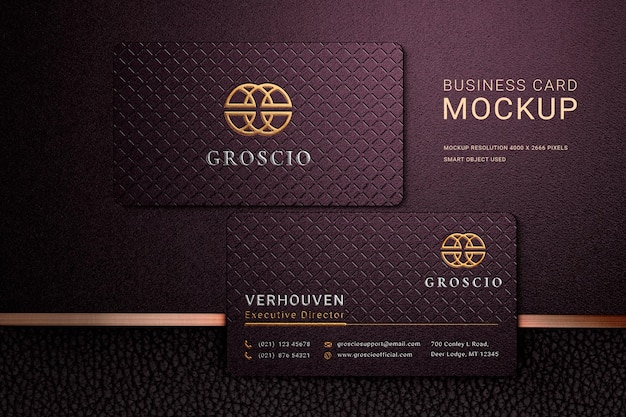 Luxury business card logo mockup with embossed effects