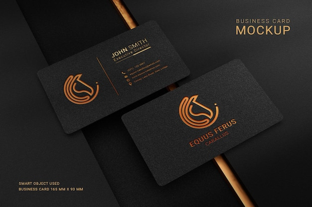 Luxury business card logo mockup with foil debossed effect