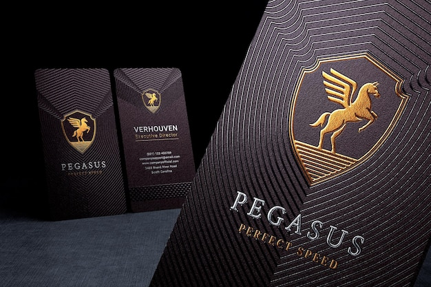 Luxury business card logo mockup with foil stamped effect