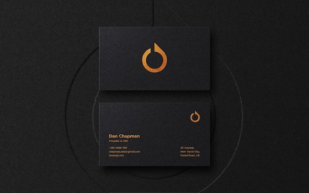 Luxury business card logo mockup with letterpress