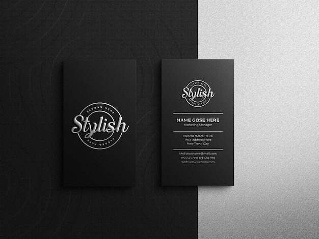 Luxury business card logo mockup with silver effect