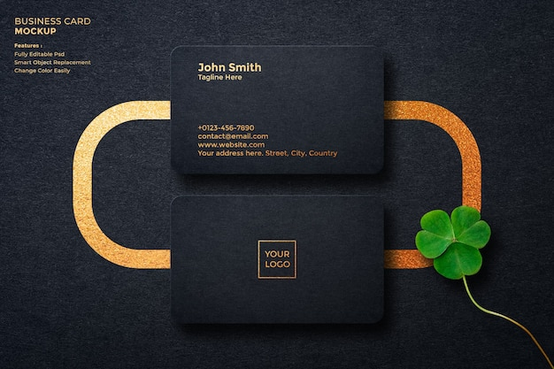 Luxury business card mockup on dark background