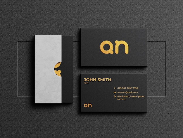Luxury business card mockup with card box