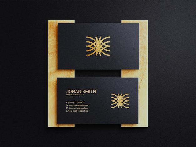 Luxury business card mockup with dark background whit gold foil effect