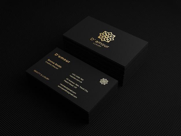 Роскошный макет визитной карточки с логотипом, тисненным фольгой, 3d-рендеринг