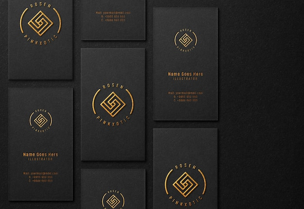 Luxury business card mockup with gold embossed effect