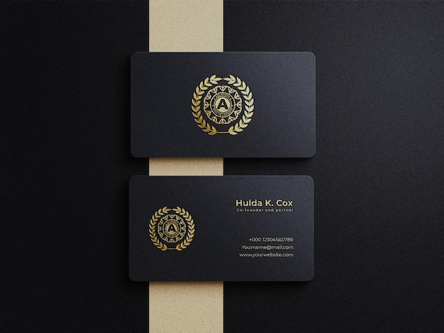 Luxury business card mockup with gold foil