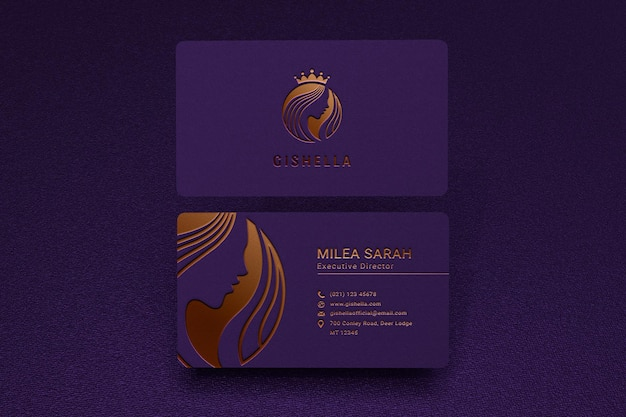 Luxury business card mockup with gold logo letterpress effect