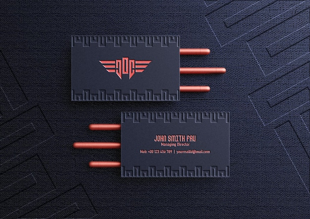 Luxury business card mockup with letterpress effect