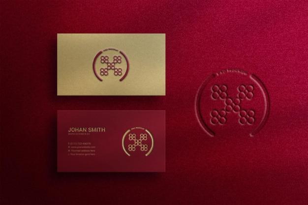 Luxury business card mockup with letterpress logo