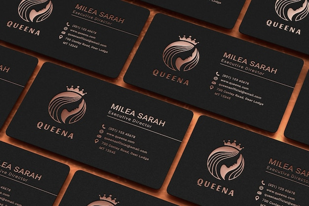 Luxury business card mockup with rose gold logo letterpress effect