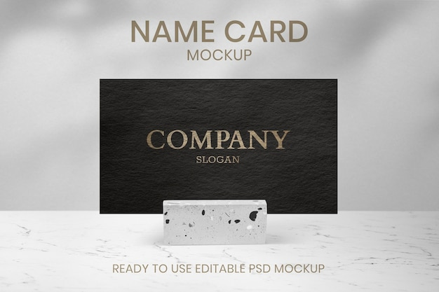 Luxury business card psd mockup with paper texture