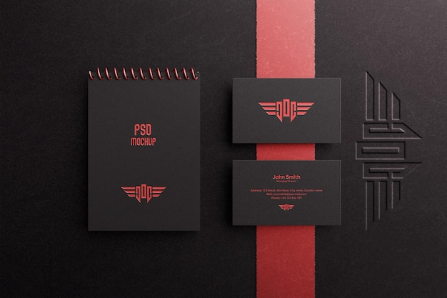 Luxury business card and spiral notebook with debossed logo mockup
