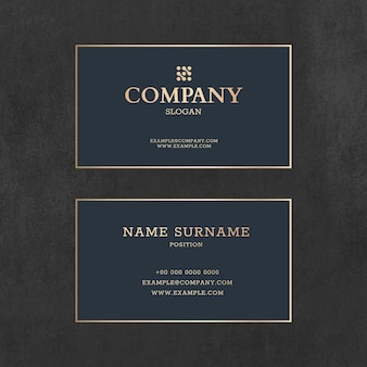 Luxury business card template psd in gold and blue tone with front and rear view flat lay