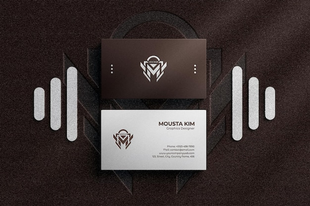 Luxury business card with embossed logo mockup