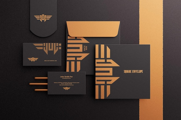 Luxury business card with square envelope mockup in dark color