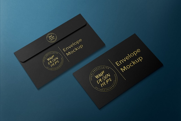 Luxury business envelope gold embossed mockup template