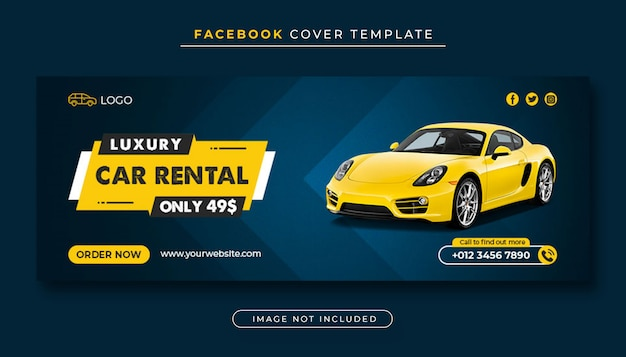 Luxury car rental facebook cover banner template