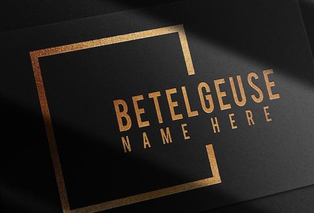 Luxury close up gold embossed logo single business card mockup