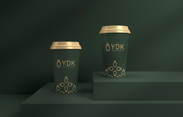 豪華なコーヒーカップのモックアップ